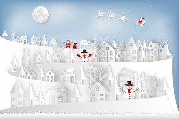 Paper art and cut  craft style design of Santa Claus on Sleigh and Reindeer in the snow village and snowman in the winter background as holiday and merry christmas day concept. vector illustration.