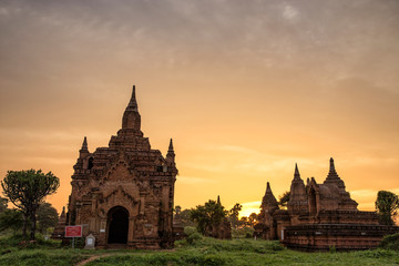 Sunrise view of Buddhist temple in Bagan Myanmar