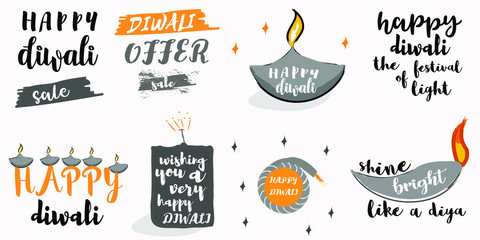 Happy Diwali typography set. Typographic emblems with diya. Vector logo, text design for banners, greeting cards, posters, and gifts. perfect for festival discount poster, banners and gift cards.