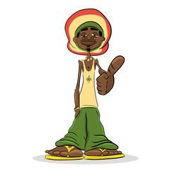 Rastafarian male cartoon character. Jamaican man vector illustration.
