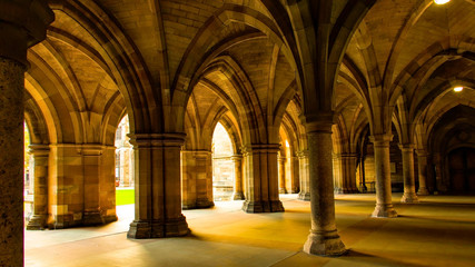 The Cloisters between the quadrangles at Glasgow University.