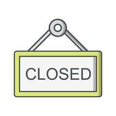 Closed Sign Ecommerce Flat Outline Icon