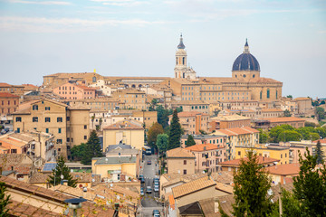 loreto city of madonna basilica with the house of nazareth marche in Italy