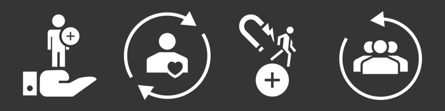 Customer retention icon set. Simple set of customer retention vector icons for web design on gray background