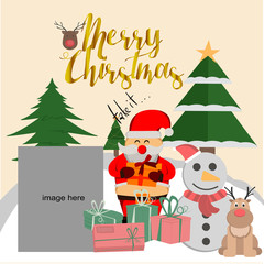 Square Christmas greeting card vector, square social media promotional