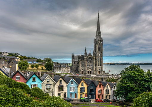 Colorful Deck of Cards Houses and St. Colman Cathedral, Cobh, County Cork, Ireland