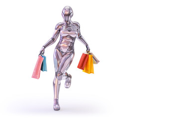 A happy playful woman robot android holding colorful shopping bags. Black friday shopping concept. Design element isolated on white.3D illustration