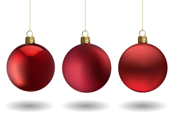 Red Christmas Ball Set for Your Project - Colored Illustrations with Glossy Ball and Matting Ball, Vector