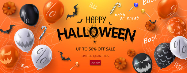 Orange Halloween sale banner or flyer with balloons and pumpkins.