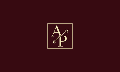 LETTER A AND P MONOGRAM LOGO WITH SQUARE FRAME FOR LOGO DESIGN OR ILLUSTRATION USE