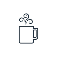 Mug with art steam isolated line icon on white background, coffee set, logo and sign