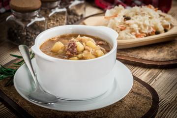 Sour cabbage soup.