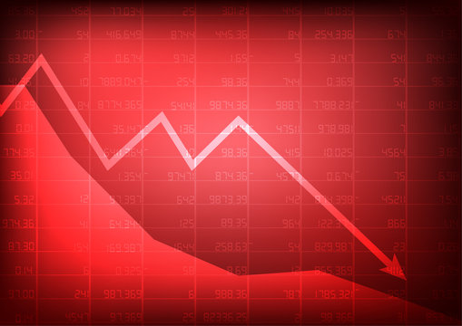 Vector : Red stock market with decreasing arrow on red background