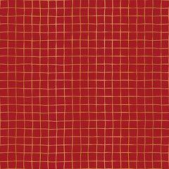 Gold foil grid on red seamless vector pattern background. Elegant Holiday background. Golden shiny hand drawn raster square shapes. For digital papers, New Year, wedding, party invitation, Christmas