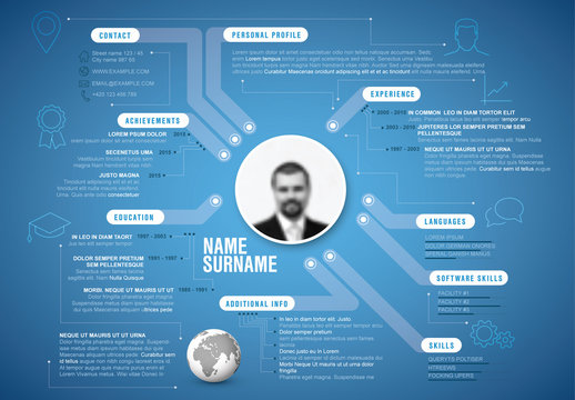 Blue Resume Layout with Circuit Lines