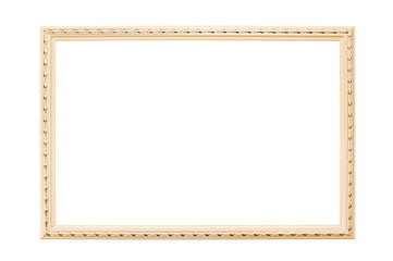 Gold frame for photos, pictures on a white background