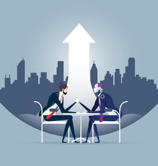 Modern technology concept of human businessman vs robot confrontation arm wrestling.