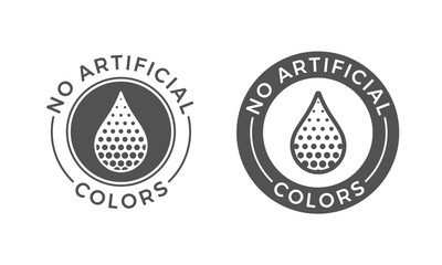 No artificial colors and dyes vector icon. Skin and body care cosmetic product medical color drop symbol
