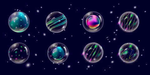transparent New Year and Christmas balls, vektor