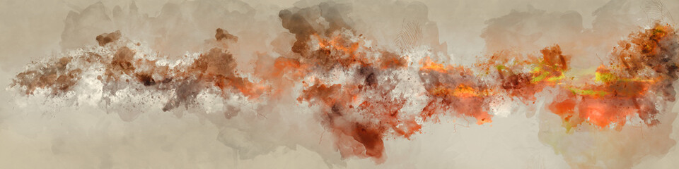 Abstract Watercolor Artistic Digital Painting of Designed Banner with Vivid Orange, Dark Brown, Yellow Colors on Paper Texture