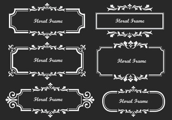 Vintage frame on black background, for historical design and decoration. Vector frame can be easily edited.