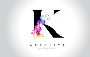 K Vibrant Creative Leter Logo Design with Colorful Smoke Ink Flowing Vector.