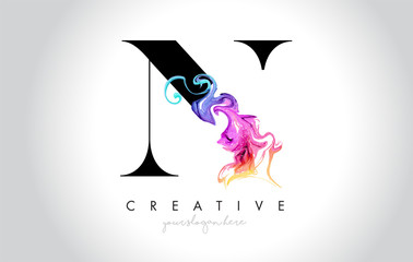 N Vibrant Creative Leter Logo Design with Colorful Smoke Ink Flowing Vector.