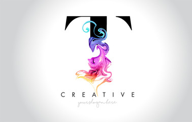 T Vibrant Creative Leter Logo Design with Colorful Smoke Ink Flowing Vector.