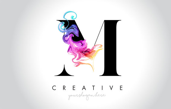 M Vibrant Creative Leter Logo Design with Colorful Smoke Ink Flowing Vector.