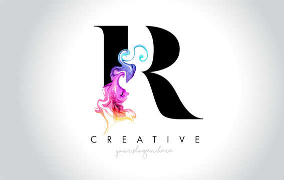 R Vibrant Creative Leter Logo Design with Colorful Smoke Ink Flowing Vector.