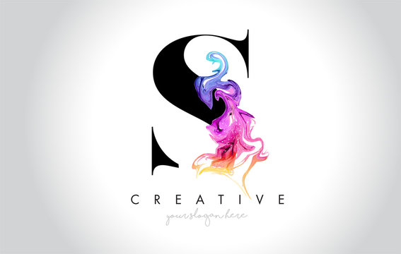 S Vibrant Creative Leter Logo Design with Colorful Smoke Ink Flowing Vector.