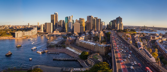 Panoramic view of Sydney with the business district and Harbour Bridge, Sydney, Australia