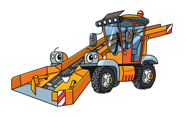 Funny snowthrower car with eyes. Municipal cars