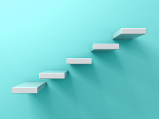 Abstract white stairs or five steps  business concept on blue green pastel color wall background with shadow 3D rendering
