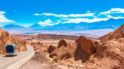 Photo sur Plexiglas Secheresse Landscape in Atacama desert, Chile. Copy space for text.