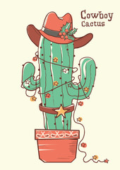 Poster Pirates Cactus christmas with cowboy hat .Vector hand drawn illustration