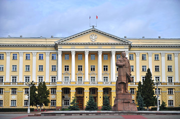 Facade of government building and Lenin statue in Smolensk