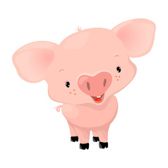 Cute pink pig with cheerful smiling face, cartoon vector illustration on white background. Comic piglet character isolated