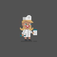 Pixel art doctor personage.