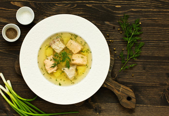fish soup with ingredients and spices for cooking.