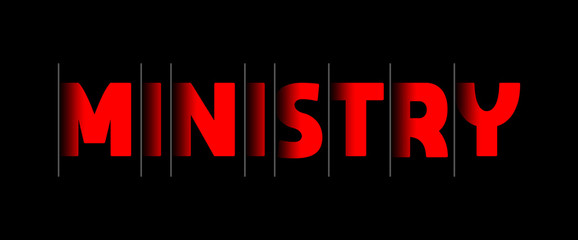 Ministry - red text written on black background