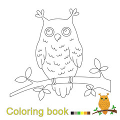illustration of owl sitting on the branch for coloring book for kids