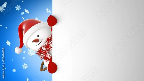 752acff758b8c ... Snowman in Santa Hat Greeting with Hand and Smiling Snowfall Background.  Beautiful 3d Cartoon Animation Green Screen Alpha Mask. Animated Greeting  Card.