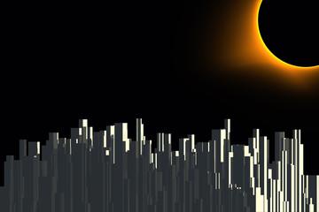 dark futuristic urban illustration