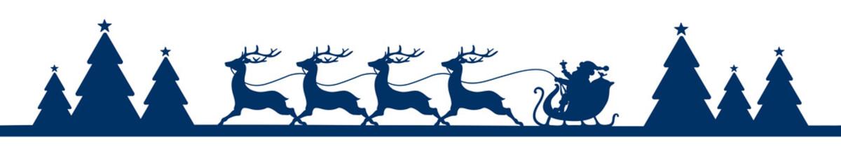 Banner Running Christmas Sleigh Forest Blue