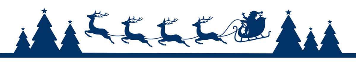 Banner Flying Christmas Sleigh Forest Blue