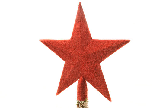 red christmas star on a white background