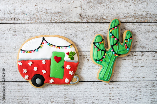 Cute Christmas Camper And Cactus Decorated Sugar Cookies Isolated On