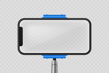 Creative vector illustration of monopod selfie stick with empty phone mobile screen isolated on transparent background. Art design mock up smartphone photo template. Abstract concept graphic element