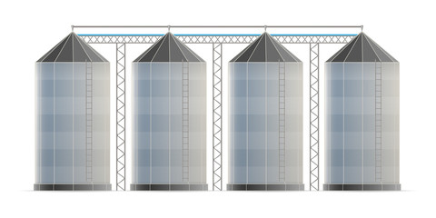 Creative vector illustration of agricultural silo storehouse for grain storage elevator isolated on transparent background. Art design farm template. Abstract concept graphic wheat, corn tank element